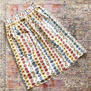 ASOS | White Floral Button Front Pocket Midi Skirt